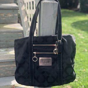 Authentic Coach Poppy Signature Tote Bag Black